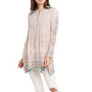 Johnny Was Dusty Rose Jardin Tunic Rayon Large NWT